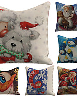 cheap -Set of 6 Linen Pillow Cover Special Design Cartoon Traditional Christmas Throw Snowflake Santa Claus Cartoon Print Pillow 45*45cm