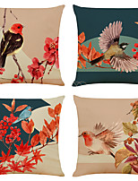 cheap -Set of 4 Artistic flowers and Birds Linen Square Decorative Throw Pillow Cases Sofa Cushion Covers 18x18