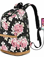 """cheap -floral backpack, girls bookbags with usb charging port fit for 14"""" laptop fashion casual rucksack travel daypack bag for teens(sunflowers)"""