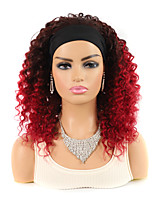 cheap -Machine-made Real Hair 16 inch Black Red Hair With Wig Headgear African Deep Roll Mid-length Small Volume Fluffy Wig