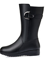 cheap -Women's Boots Riding Boots Wedge Heel Round Toe Mid Calf Boots Casual Daily Walking Shoes PU Solid Colored Black / Mid-Calf Boots