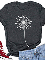 cheap -Women's T-shirt Graphic Prints Print Round Neck Tops 100% Cotton Basic Basic Top Dark Gray