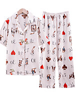 cheap -Women's Home Imitated Silk V Neck Loungewear Printing Graphic S White