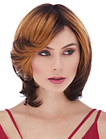 cheap -Synthetic Wig Curly Bob Asymmetrical Wig Short Brown Synthetic Hair 6 inch Women's Fashionable Design Ombre Hair Exquisite Brown