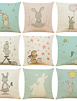 cheap -Set of 9 Cute Rabbit Linen Square Decorative Throw Pillow Cases Sofa Cushion Covers 18x18