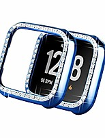 cheap -compatible with fitbit versa case, bling crystal diamonds bumper pc protective face cover women girl shiny rhinestone smartwatch plated cases for fitbit versa edition (versa blue)