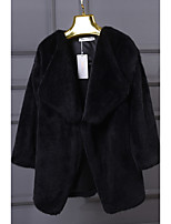 cheap -Women's Fall & Winter Open Front Coat Regular Solid Colored Daily Basic Faux Fur White Black S M L XL