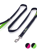 cheap -heavy duty dog leash - 2 handles - padded traffic handle for extra control, 7ft long - perfect leashes for medium to large dogs & #40;black and green& #41;