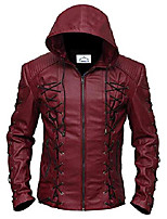 cheap -stephen amell green arrow roy harper mens black and maroon faux leather jacket superhero