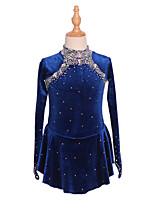 cheap -Figure Skating Dress Women's Girls' Ice Skating Dress Dark Navy Asymmetric Hem Spandex Velvet High Elasticity Training Competition Skating Wear Handmade Solid Color Patchwork Crystal / Rhinestone