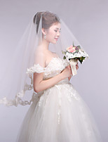 cheap -one-tier flower style / classic & timeless wedding veil fingertip veils with petal / appliques 59.06 in (150cm) tulle