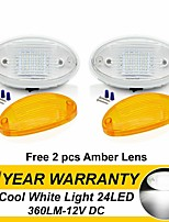cheap -2Pcs 3.5W 6500K 2X 12V 24 LED Camper RV Exterior Interior Porch Utility Trailer Van Oval Light