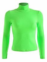 cheap -women casual turtlenck long sleeve fluorescent green knitted casual streetwear tee shirt (l)