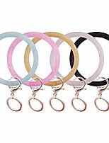 cheap -5 pcs silicone wrist keychain bracelets, shiny bangle keyring large circle keychain holder for women girls