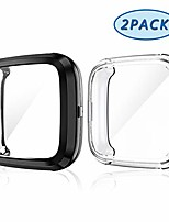 cheap -2 pack screen protector case for fitbit versa 2, soft tpu plated cover scratch proof full protective bumper shell for fitbit versa 2 smartwatch accessories