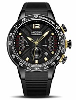 cheap -men's sports analogue chronograph luminous quartz watches with stylish black silicone band for business work