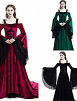 cheap -Movie / TV Theme Costumes Princess Medieval Vacation Dress Party Costume Masquerade Women's Lace Pleuche Costume Black / Red / Green Vintage Cosplay Masquerade Performance Long Sleeve Long Length