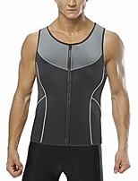 cheap -men's hot sweat body shaper tummy fat burner tank top slimming vest weight loss shapewear neoprene gray xl