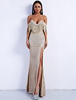 cheap -Sheath / Column Sexy Sparkle Prom Formal Evening Dress Sweetheart Neckline Sleeveless Floor Length Spandex with Tassel Split 2020