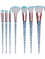 cheap -10 pcs girly makeup brushes set crystal transparent handle powder foundation brush concealer eye shadow eyeliner eyebrow brush for girls ideal beauty tool for women (blue)
