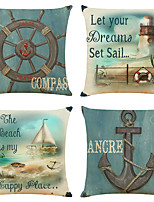 cheap -Set of 4 Nautical Anchor Linen Square Decorative Throw Pillow Cases Sofa Cushion Covers 18x18
