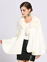 cheap -Women's Fall & Winter Cloak / Capes Regular Solid Colored Daily Basic Fur Trim Faux Fur White Black Red Wine One-Size