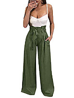 cheap -womens high waisted palazzo pants wide leg stretch trouser pant belted with pockets (large, army green)