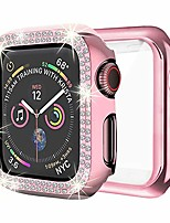 cheap -dsytom case compatible with apple watch 38mm, bling pc full cover bumper & tpu soft screen protector case 2 pack for iwatch series 3/2/1 women girl(38mm,rose pink+rose pink)