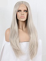 cheap -xiweiya long natural wavy ash blonde synthetic lace front wigs heat resistant fiber silver gray straight lace wigs soft grey hair middle part wig for women 24 inch
