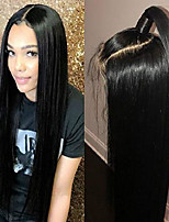 cheap -straight lace front wigs natural hairline black synthetic wigs silky soft heat resistant fiber with baby hair 20 inch