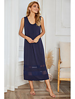 cheap -Women's Home Polyester Loungewear Mesh Solid Color S Navy Blue