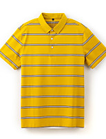 cheap -Men's Golf Polo Shirts Short Sleeve Autumn / Fall Spring Summer UV Sun Protection Breathable Quick Dry Stripes Yellow / Stretchy
