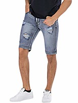 cheap -men's casual denim shorts classic fit distressed ripped short jeans with pockets