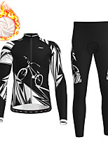 cheap -21Grams Men's Long Sleeve Cycling Jersey with Tights Winter Fleece Black Bike Fleece Lining Breathable Warm Sports Graphic Mountain Bike MTB Road Bike Cycling Clothing Apparel / Stretchy