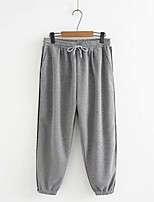 cheap -Women's Basic Streetwear Comfort Plus Size Cotton Loose Daily Going out Jogger Pants Solid Colored Full Length High Waist Black Gray