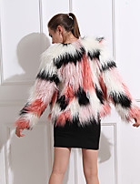 cheap -Long Sleeve Coats / Jackets Faux Fur Office / Career / Birthday Women's Wrap With Solid