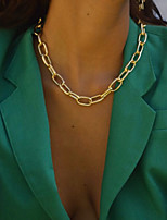 cheap -Men's Women's Choker Necklace Chain Necklace Classic Simple Vintage Punk Trendy Alloy Gold Silver 38 cm Necklace Jewelry 1pc For Party Evening Street Gift Festival