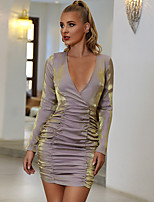 cheap -Women's A-Line Dress Short Mini Dress - Long Sleeve Solid Color Ruched Patchwork Summer Fall Elegant Sexy 2020 Gray S M L