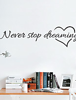 cheap -Never Stop Dreaming Characters / Hearts Wall Stickers Plane Wall Stickers Decorative Wall Stickers PVC Home Decoration Wall Decal Wall Decoration 1pc