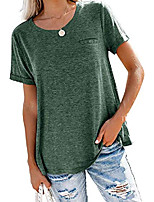 cheap -juniors shirts crewneck plus size boyfriend short sleeve summer tees tops,green l