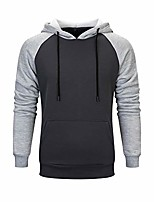 cheap -mens contrast color hoodies comfort casual pullover sports outwear sweater light gray 2xl