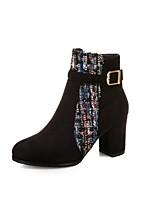 cheap -Women's Boots Block Heel Boots Block Heel Round Toe Booties Ankle Boots Preppy Daily Party & Evening Nubuck Buckle Color Block Black Beige / Booties / Ankle Boots / Booties / Ankle Boots
