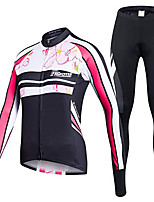 cheap -21Grams Men's Long Sleeve Cycling Jersey with Tights Winter Fleece Polyester Black Bike Clothing Suit Thermal Warm Fleece Lining Breathable 3D Pad Quick Dry Sports Graphic Mountain Bike MTB Road Bike