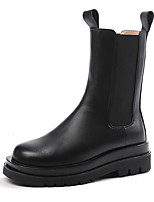 cheap -Women's Boots Block Heel Round Toe Mid Calf Boots Casual Basic Daily Walking Shoes Leather Solid Colored Black / Mid-Calf Boots