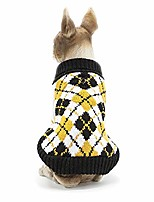 cheap -christmas pet holiday dog geometric style sweater pet winter knitwear warm clothes yellow