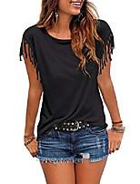 cheap -women's tassel short sleeve round neck t shirt top casual summer tee