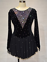 cheap -Figure Skating Dress Women's Girls' Ice Skating Dress Black Spandex High Elasticity Training Competition Skating Wear Handmade Solid Color Crystal / Rhinestone Long Sleeve Ice Skating Winter Sports