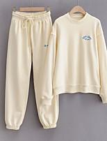 cheap -Women's Basic Solid Color Two Piece Set Cotton Sweatshirt Pant Drawstring Tops / Loose