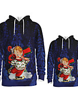 cheap -Daddy and Me Active Santa Claus Graphic 3D Print Print Long Sleeve Regular Hoodie & Sweatshirt Dusty Blue