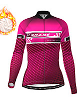 cheap -21Grams Women's Long Sleeve Cycling Jacket Winter Fleece Red Fuchsia Blue Bike Jacket Top Mountain Bike MTB Road Bike Cycling Fleece Lining Warm Sports Clothing Apparel / Stretchy